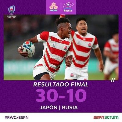 Japón derrota a Rusia en la apertura del Mundial de Rugby