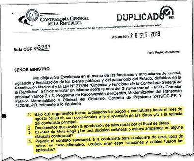 MOPC deberá responder a Contraloría sobre pagos efectuados a Mota Engil