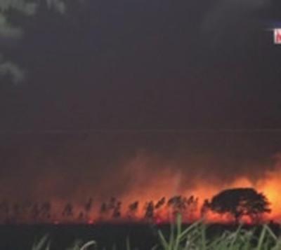 Incendio de gran magnitud consume varias hectáreas en Ypacaraí