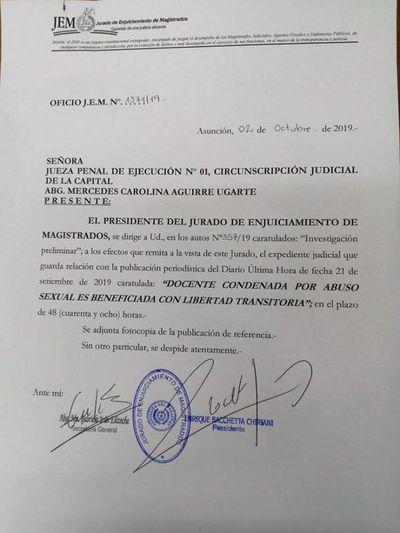 JEM pidió informes judiciales sobre el caso de la docente condenada por abuso sexual