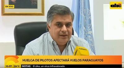 Huelga de aerolínea afectará a vuelos en Paraguay