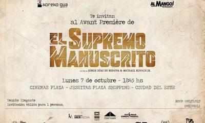 «El Supremo manuscrito» llega al cine este lunes en CDE, será el pre-estreno