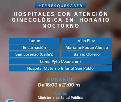 Habilitan atención ginecológica en horario nocturno en varios hospitales