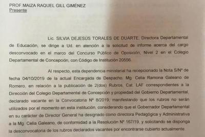 Con grosera metida de mano, políticos logran suspender llamado a concurso en Colegio Departamental