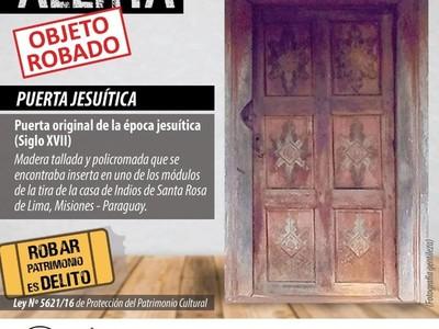 Solicitan a Interpol Paraguay emitir alerta internacional por hurto de un Patrimonio Cultural