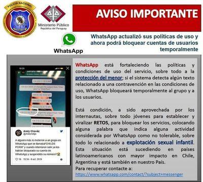 Pornografía infantil: Fiscalía advierte sobre bloqueo de Whatsapp
