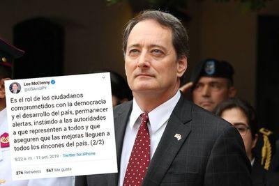 Embajador de EEUU insta al Gobierno a combatir corrupción