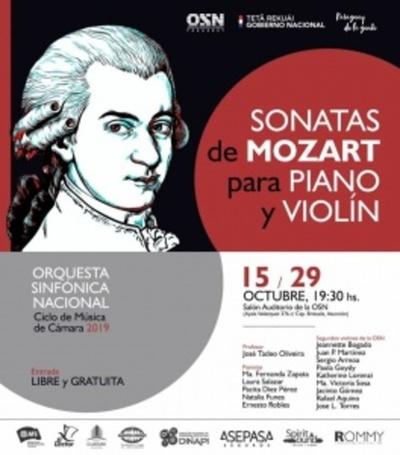 Sonatas para piano y violín de Mozart se presentará hoy