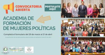 Convocan a postularse a la Academia de Formación para Mujeres Políticas