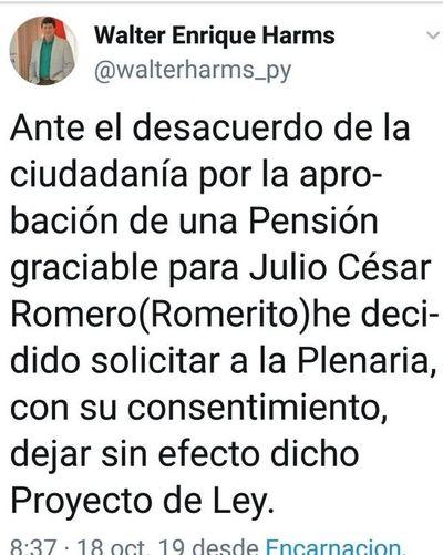 Diputado solicita dejar sin efecto pensión para Romerito