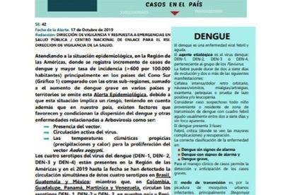 Alerta epidemiológica ante riesgo de casos de dengue