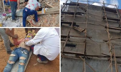 Suspenden obras tras caída de obreros