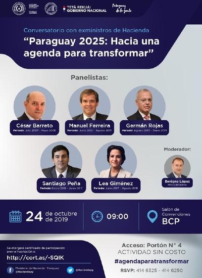 """""""Paraguay 2025: Hacia una agenda para transformar"""", conversatorio con ex ministros de Hacienda"""