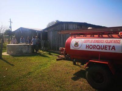 Campesinos de Horqueta piden agua a bomberos para subsistir