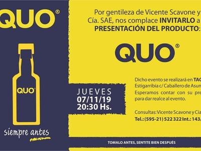 Presentan QUO, la bebida que reduce la tasa de alcohol en la sangre