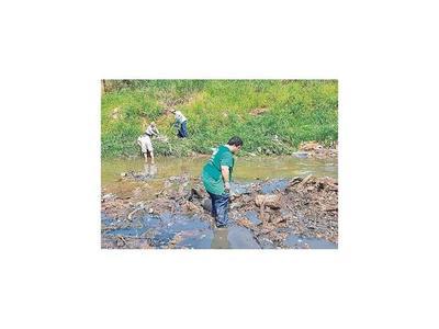 Limpian de basura los arroyos que desembocan en la bahía