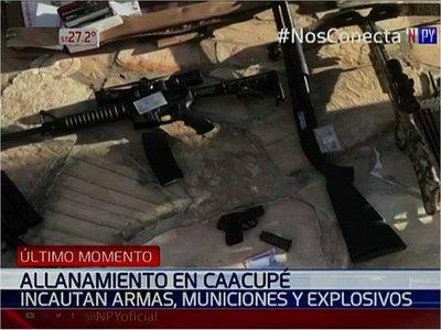 Hallan armas y municiones en grupo habitacional de Caacupé