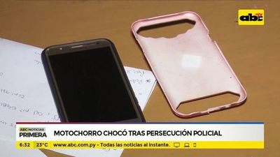 Motochorro chocó tras persecución policial