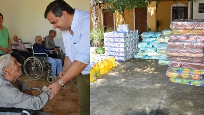 San Ignacio; Carlos Arrechea entregó víveres y colchones a Hogar de Ancianos