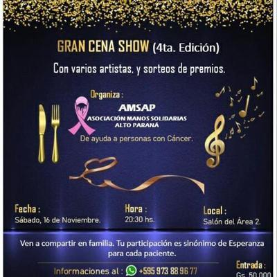 Organizan cena show solidario a favor de pacientes con cáncer