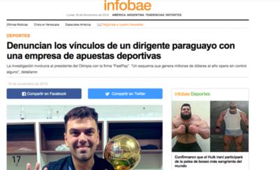 HOY / Prensa argentina se hace eso de la investigación contra Trovato