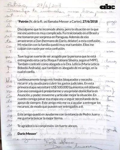 Cartes dijo que nunca recibió la carta de Messer, según Alliana
