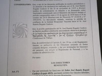EBY destituye a funcionario comisionado ante el Ministerio del Interior