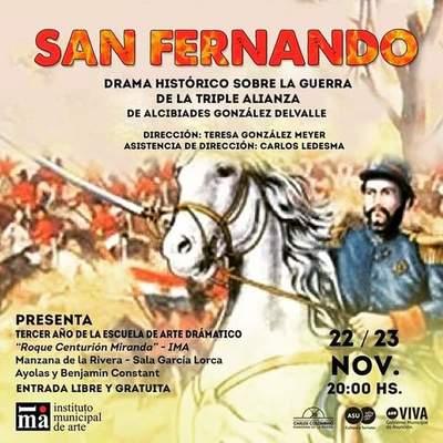 """El IMA presentará la obra teatral """"San Fernando"""" en la Manzana de la Rivera"""