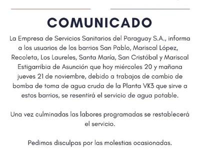 ESSAP trabaja en reposición de servicio en 7 barrios de Asunción