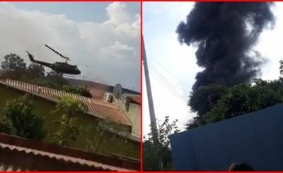 Helicóptero de SENAD cae sobre fábrica en PJC