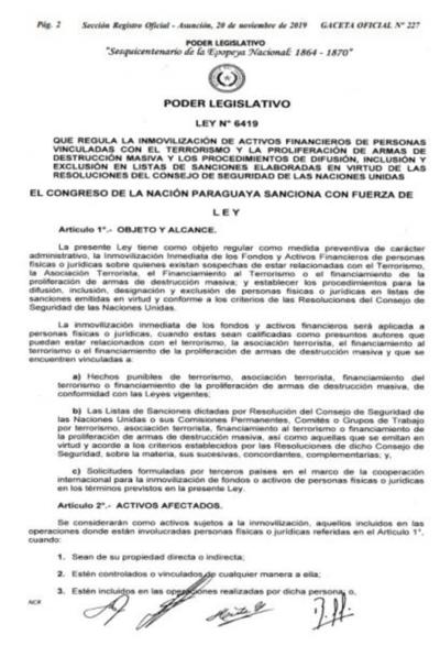 Ejecutivo promulga ley sobre activos financieros de personas vinculadas con el terrorismo
