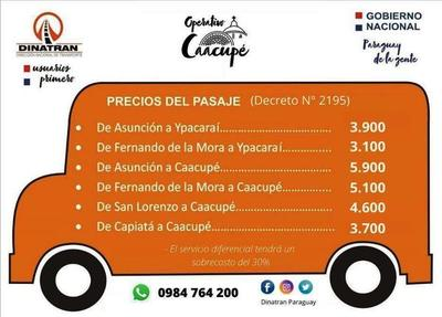 Dinatran da a conocer precios de pasajes para Operativo Caacupé •