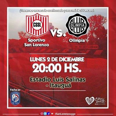 San Lorenzo anuncia que recibirá a Olimpia en Itauguá