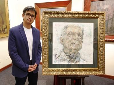 Artista ecuatoriano donó retrato de Roa Bastos al Museo Nacional de Bellas Artes