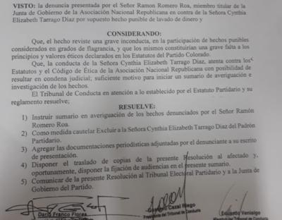 Cynthia Tarragó expulsada de la ANR