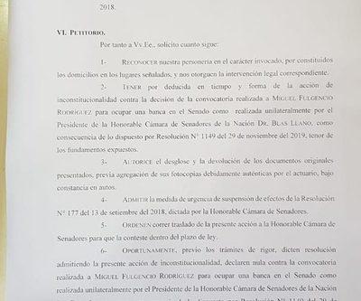 ANR pide a la Corte banca de Payo