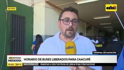Horario de buses liberado para Caacupé