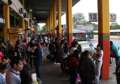 DINATRAN: Se aguarda más feligreses en la terminal de ómnibus durante la tarde