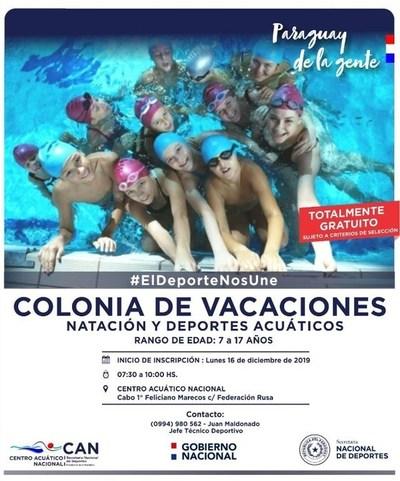 Desde el lunes comienza la Colonia de Vacaciones en el Centro Acuático Nacional