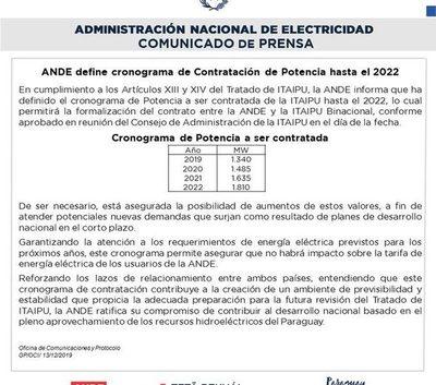 ANDE: Sin aumento hasta el 2022