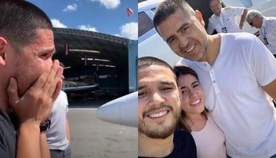 """La emoción del novio de Mily al encontrase con jugador de """"Boca"""""""