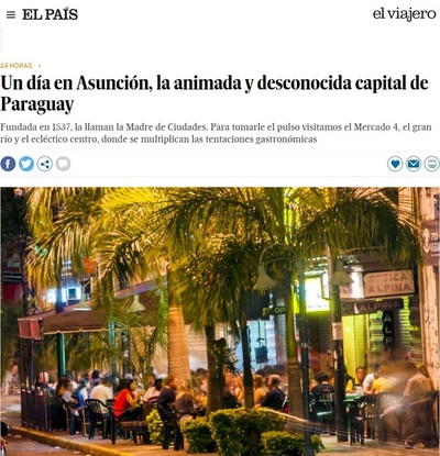 """Diario español """"El País"""" destaca atractivo turístico de Asunción"""