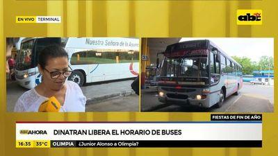Dinatran libera el horario de buses