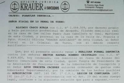 Presentan nueva denuncia contra expresidente de AFUGCON y diputado Urbieta