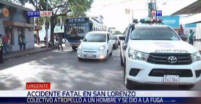 Peatón muere arrollado por un bus en San Lorenzo