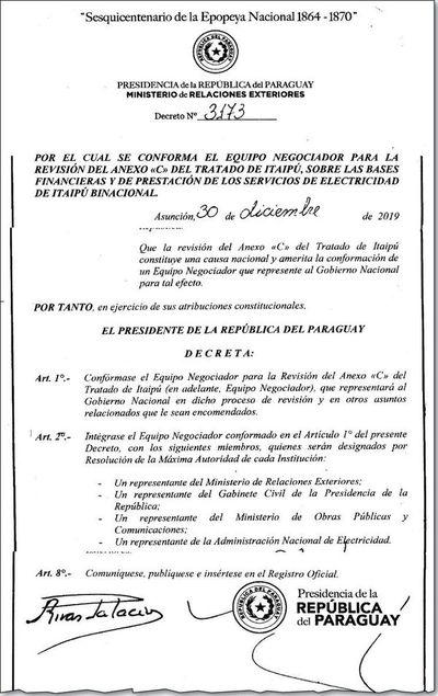 Gobierno crea equipo negociador que revisará  Anexo C del Tratado de Itaipú