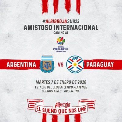 Albirroja preolímpica jugará amistoso con Argentina