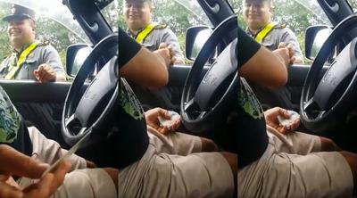 Filman a oficial de la Caminera recibiendo coima