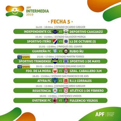 Hoy empieza a jugarse la Fecha 5 de la División Intermedia