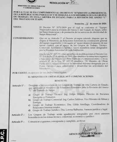 Arnoldo Wiens encabezará equipo de revisión del anexo C de Itaipú